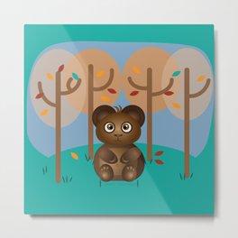 Brown Cub Sitting in the Woods Metal Print