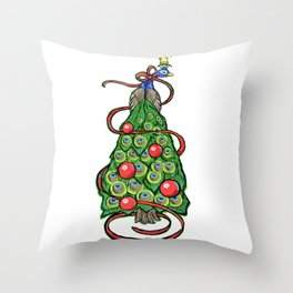 Peacock Christmas Tree Throw Pillow