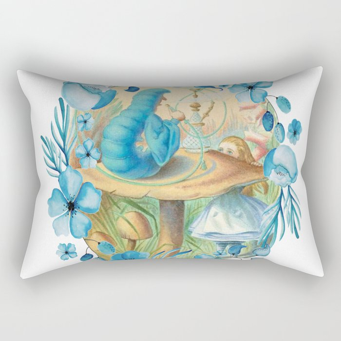 Alice and the Caterpillar - Alice in Wonderland Rectangular Pillow