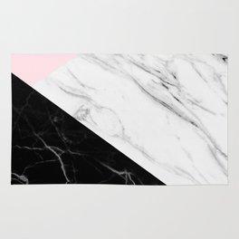 pink black and white geometric marble Rug