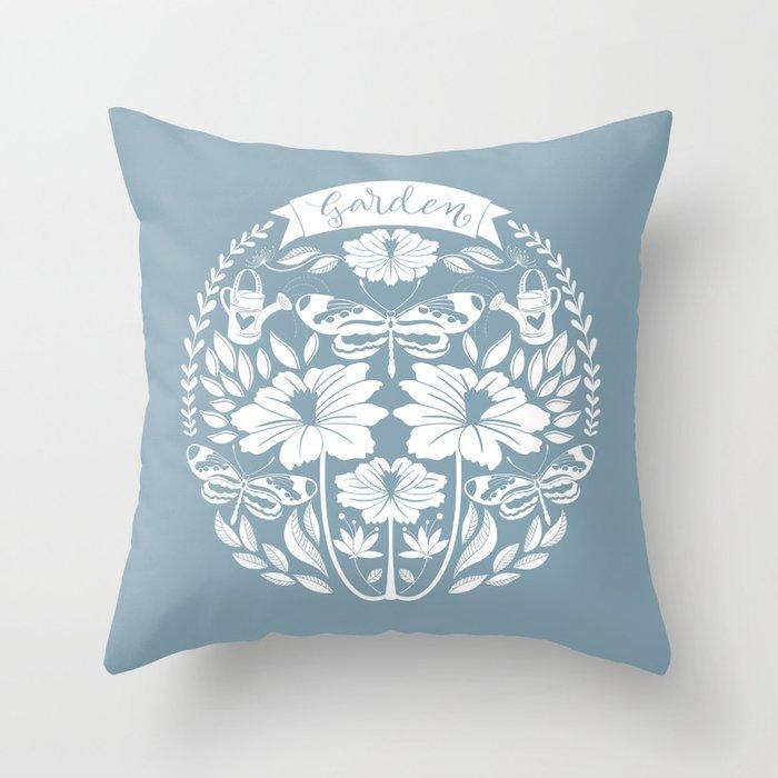 Garden Lovers Folk Art // Hand Draw Garden Flowers and Butterflies Lettering // Blue Throw Pillow