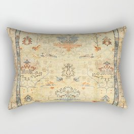 Fine Crafted Old Century Authentic Colorful Yellow Dusty Blues Greys Vintage Rug Pattern Rectangular Pillow