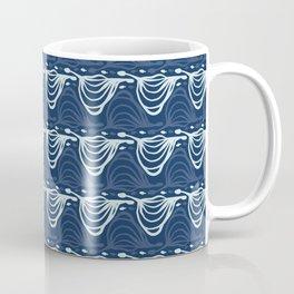 Indigo Blue Wave Pattern Japanese Style Stylized Water Wavy Coffee Mug