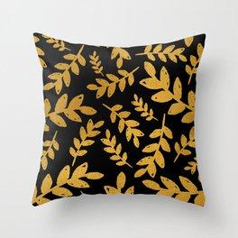Black Gold Foil Leaves Throw Pillow