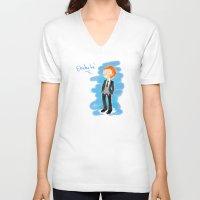 tom hiddleston V-neck T-shirts featuring Tom Hiddleston - Ehehehe! by Delucienne Maekerr