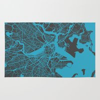 boston Area & Throw Rugs featuring Boston map by Map Map Maps
