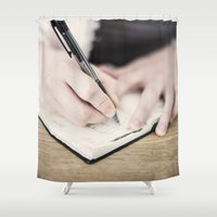 write Shower Curtains featuring WRITE by Marte Stromme