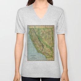 Vintage Map of California and Nevada (1905) Unisex V-Neck