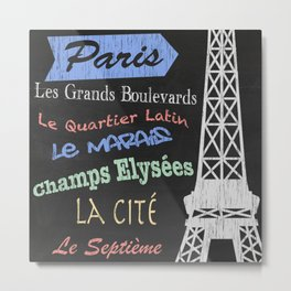 Paris Tourism Poster Metal Print