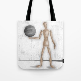 Man With A Globe - Grey  Tote Bag