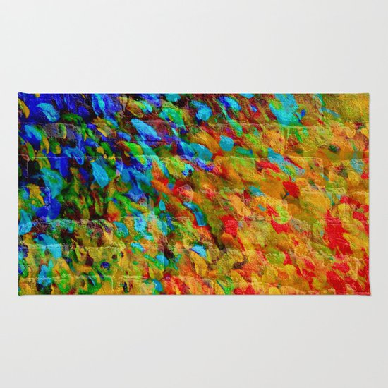 Urban Jungle Rug: Bold Rainbow Splash Bricks Urban Jungle