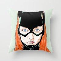 batgirl Throw Pillows featuring Batgirl by Matthew Bartlett