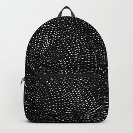 white on black dots Backpack