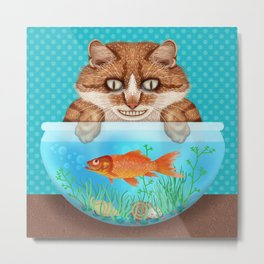 Cat with Goldfish Bowl Whimsical Kitty and Fish Metal Print