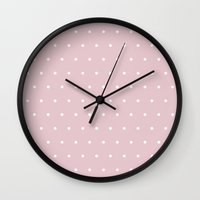 bisexual Wall Clocks featuring Polka dot dance on pink by Better HOME