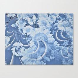 Blue Daisy Fractal Canvas Print