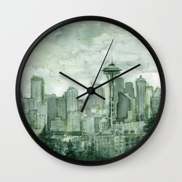 Seattle Skyline Watercolor Space Needle Emerald City 12th Man Art Wall Clock
