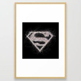 Scribbling Superman Logo Framed Art Print