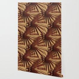 Burgundy and Coffee Tropical Beach Palm Vector Wallpaper