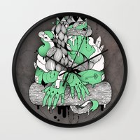 mona lisa Wall Clocks featuring Mona Lisa by Gaetan billault