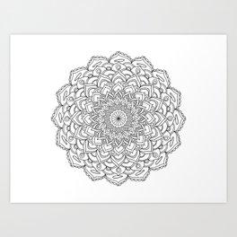 Mandala beach and white Art Print