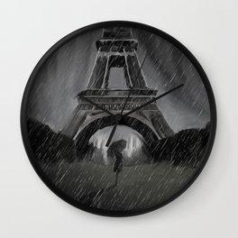 Ghost in Noir Paris Wall Clock