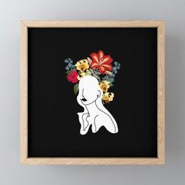 Line Art Woman with Flowers Art Print Framed Mini Art Print