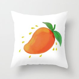 Juicy Mango Fruit Watercolor Throw Pillow