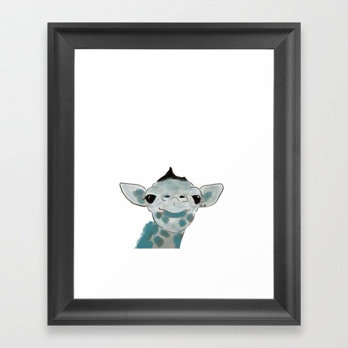 Happy Baby Giraffe // Giraffe In Watercolor Blue and Gray Framed Art Print
