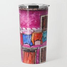 Burano laundry ink and watercolor illustration Travel Mug