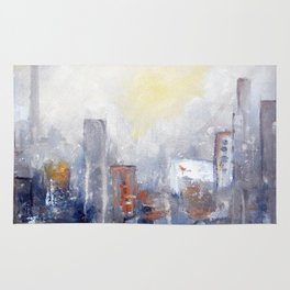 ABSTRACT CITYSCAPE MODERN PAINTING Rug