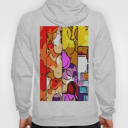 psychedelic geometric graffiti drawing and painting in orange pink red yellow blue brown purple and Hoody
