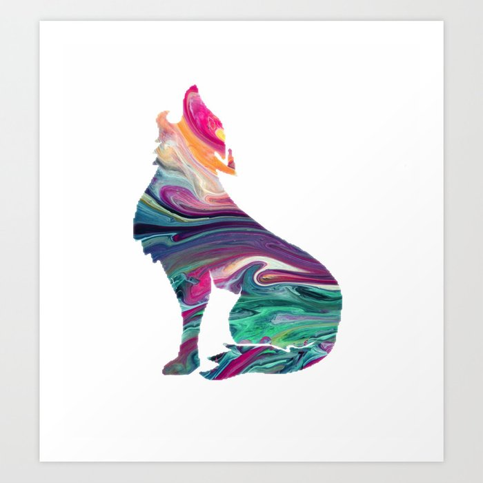 swirly wolf Art Print