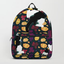 Benji the Cat, Navy, Soft Yellow, Flowers, and Purple Backpack