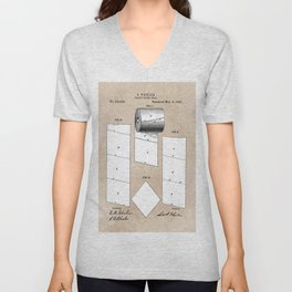patent art Wheeler Toilet paper roll 1890 Unisex V-Neck