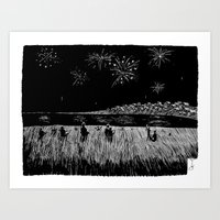 fireworks Art Prints featuring Fireworks by Mr.Willow