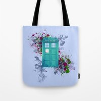 doctor who Tote Bags featuring Doctor Who by Laain Studios