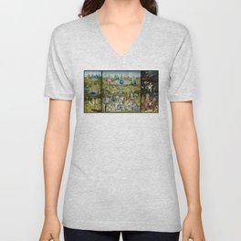 The Garden of Earthly Delights by Hieronymus Bosch (1490-1510) Unisex V-Neck