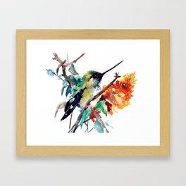Hummingbird and Orange Flowers, tropical Olive green Framed Art Print