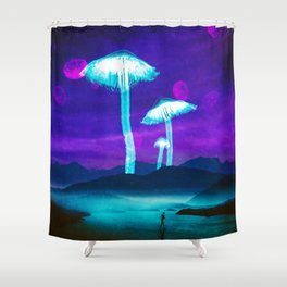 Glowy Shrooms Shower Curtain