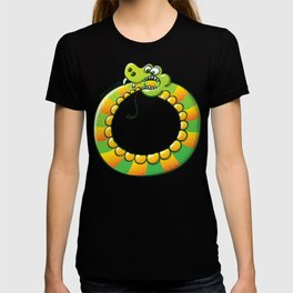 Crazy snake Biting its own Tail T-shirt