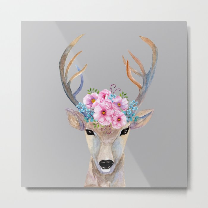 Deer Magnolia Metal Print