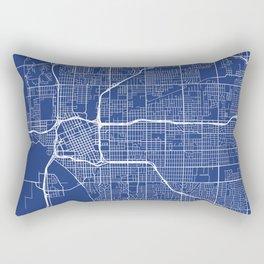 Tulsa Map, USA - Blue Rectangular Pillow