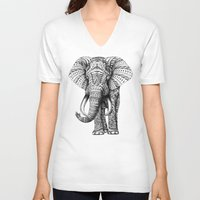 black V-neck T-shirts featuring Ornate Elephant by BIOWORKZ