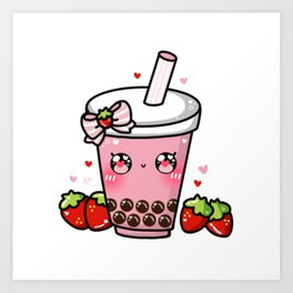 Strawberry Bubble Tea Art Print