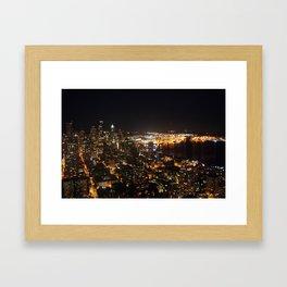 Seattle Night Lights - Great Wheel Framed Art Print