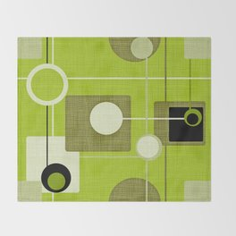 orbs and squares acid green Throw Blanket