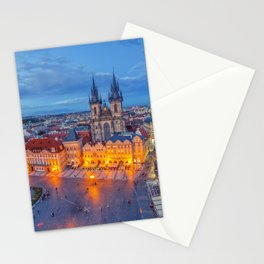 Prague old town square and church of Mother of God before Tyn in Prague, Czech Republic. Stationery Cards