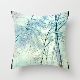 Abstract Trees snow covered Throw Pillow