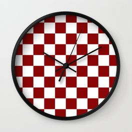 Red White Checker Wall Clock